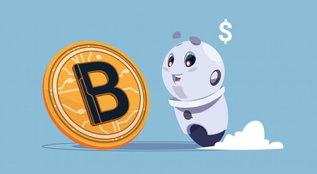 Bitcoins crypto currency cute robot looking at golden bit coin digital web money mining concept