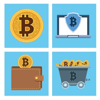 Bitcoins cyber money technology set icons vector illustration design