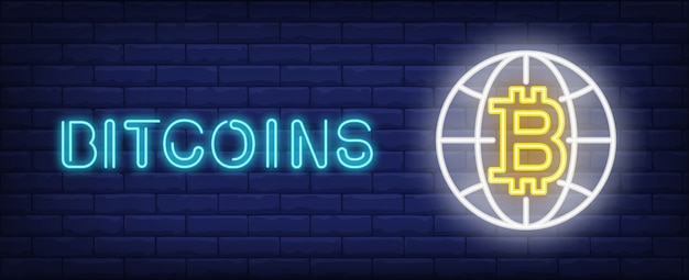 Bitcoins illustration in neon style. text, globe and bitcoin on brick wall background.