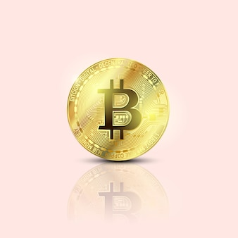 Bitcoins 돈 가상 통화 개념. 암호 화폐를위한 골든 비트 코인 코인 블록 체인 기술. 디지털 머니 통화.