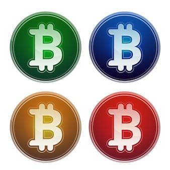 Bitcoins virtual money set vector