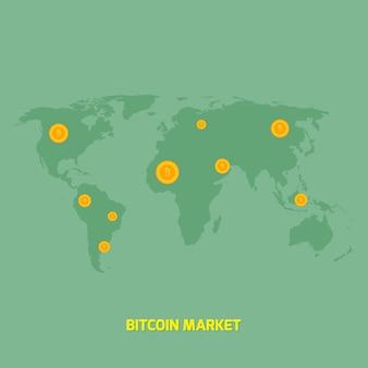 Bitcoins on world map money transfer