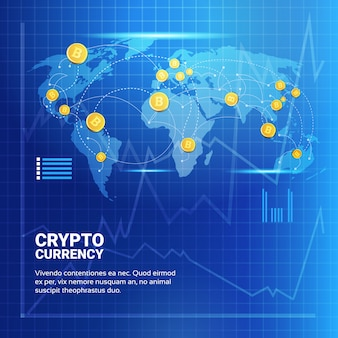 Bitcoins on world map