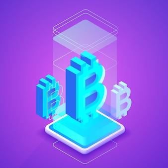 Bitcon cryptocurrencyブロックチェーンまたはビットコイン鉱山ファームの図。