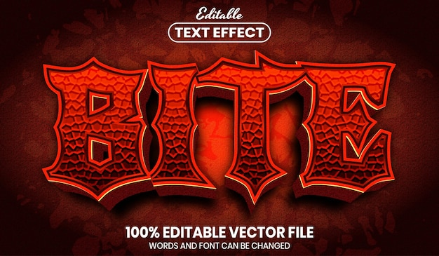 Bite text, font style editable text effect