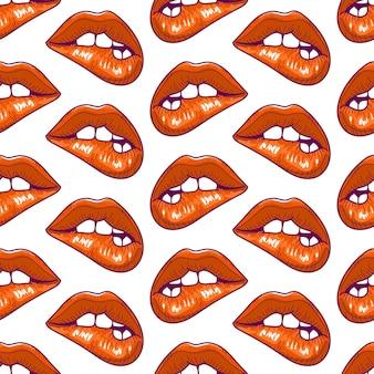 唇を噛むシームレスパターン