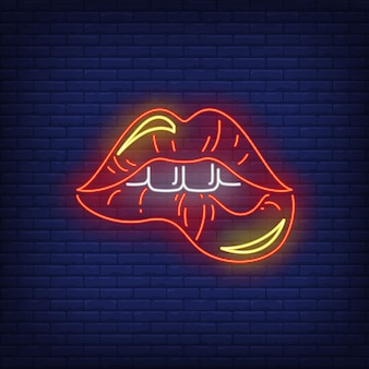 Biting red lips neon sign