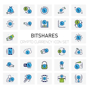 Bitshares crypto currency icons set