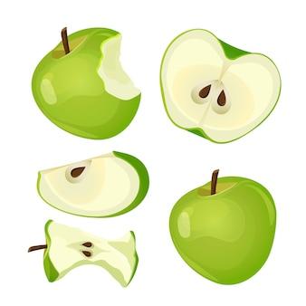 Надкушенное яблоко, целое, половинное и нарезанное знак надкушенного плода с черными семенами