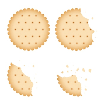 Bitten chip biscuit cookie, cracker vector set