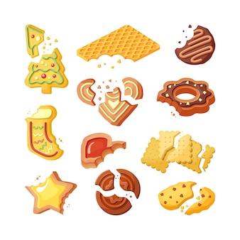 Надкушенное печенье, сломанное печенье плоский набор. дегустация выпечки, цветная коллекция сладких вафель и кусочков имбирных пряников.
