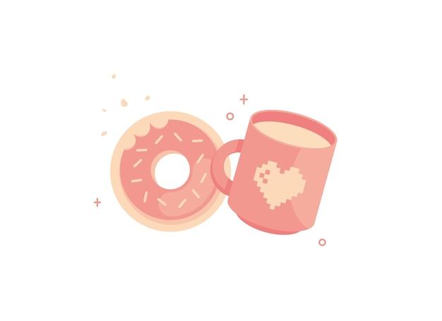 Надкушенный пончик с милой чашкой кофейного напитка, где кружка с пиксельным сердцем.