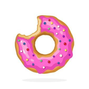 Надкушенный пончик с розовой глазурью и цветными сахарными драже векторная иллюстрация