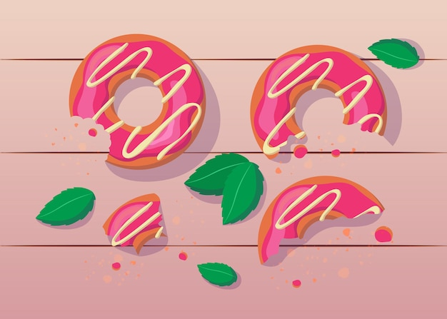 Bitten and half eaten pink donuts with white icing illustration