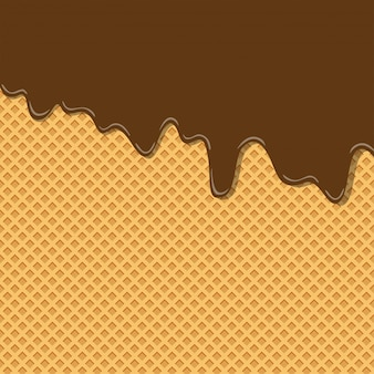 Bitter sweet cocoa chocolate cream flavor ice cream texture on wafer background pattern