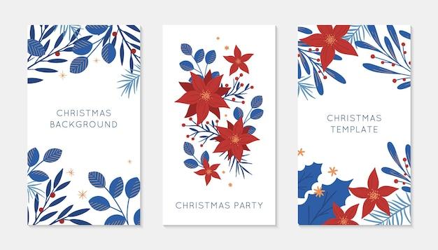 Набор шаблонов историй insta с рождеством и новым годом. праздничная реклама и рекламные концепции. современные векторные макеты. рождественский модный дизайн для маркетинга в социальных сетях, цифровой пост, принты, баннеры.