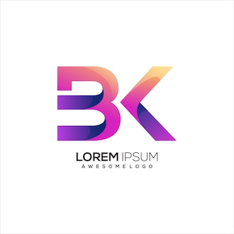 Bk letter initial logo gradient colorful abstract