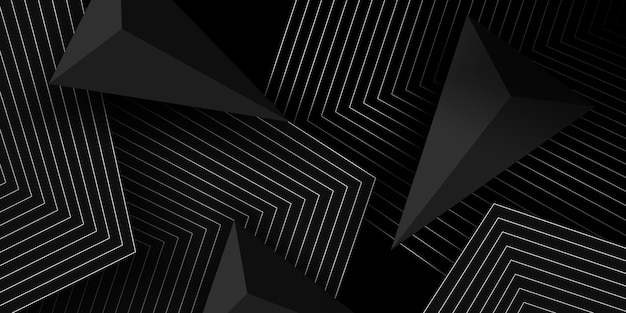 Black 3d background with geometric shapes