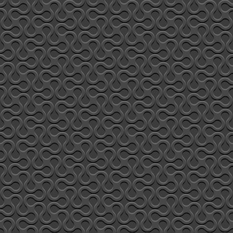Black 3d curved geometric simple seamless pattern