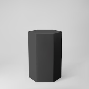 Black 3d hexagon podium with perspective isolated on grey background. product podium mockup in hexagon shape, pillar, empty museum stage or pedestal. 3d basic geometric shape vector illustration.