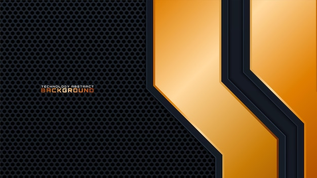 Black abstract 3d background with a combination with line gold. luxury concept for text, background design, cover, banner, advertising