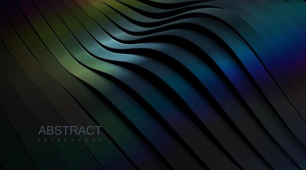 Черный абстрактный фон из изогнутых лент