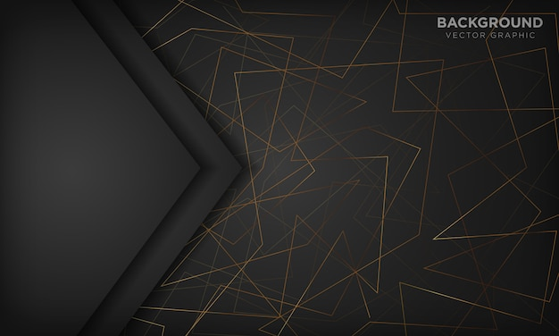 Black abstract background with gold lines. modern technology concept.