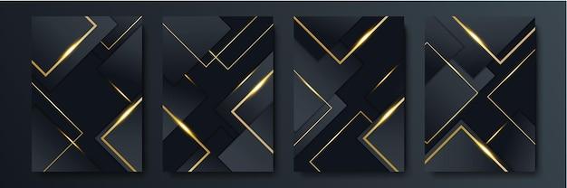 金色の線と黒の抽象的な背景。ブラックゴールドの背景のオーバーラップ寸法抽象的な幾何学的なモダン。オーバーラップレイヤー付きのエレガントなネイビーブラックゴールドの背景。ビジネスや企業向けのスーツ