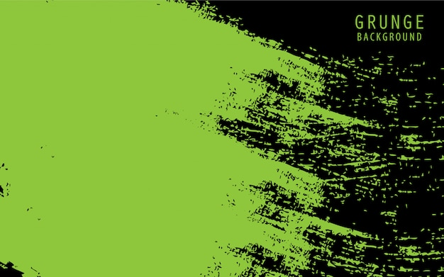Black abstract background with green grunge