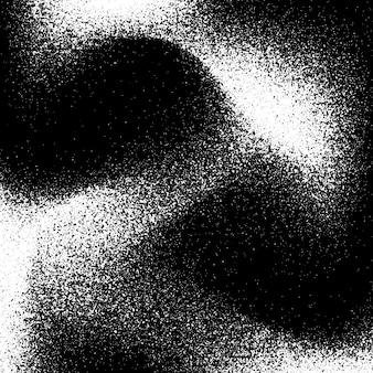 흰색 필름 그레인 노이즈 도트워크 하프톤 그루지 텍스처가 있는 검은색 추상적인 배경