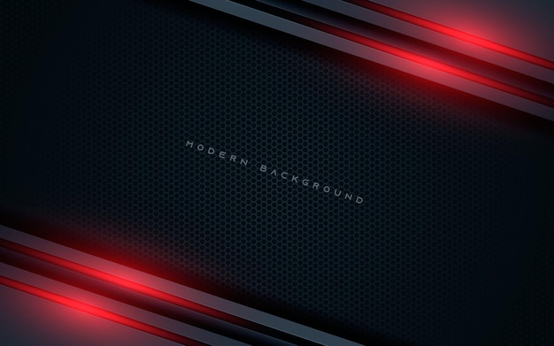 Black abstract diagonal overlap layers background with red light decoration