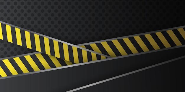 黒の抽象的な斜めのオーバーラップレイヤーの背景と黄色の警察線の装飾