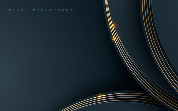 Black abstract dimension background with golden decoration