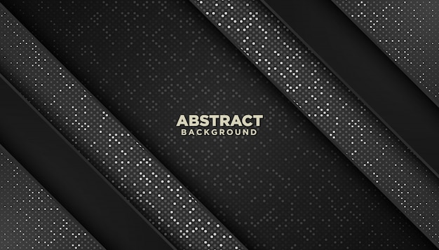 Black abstract geometric background with glitters dots element decoration