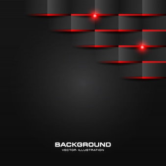 Black abstract geometric pattern with red shiny light
