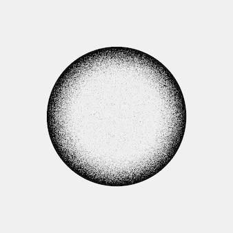 フィルムグレインノイズドットワークグランジテクスチャと黒の抽象的な幾何学的形状のサークルバッジ