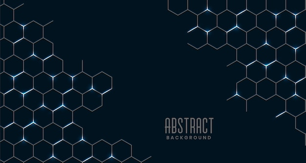 Black abstract hexagonal mesh connection
