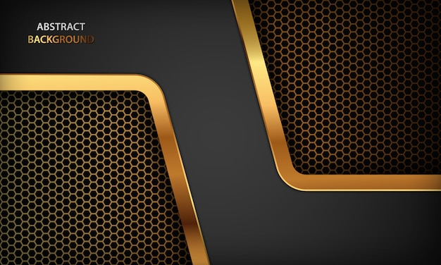 Black abstract luxury background. texture with realistic golden design. modern dark background.