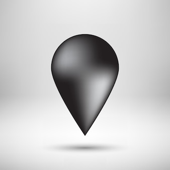 Black abstract map pointer badge gps button with realistic shadow and light background for apps