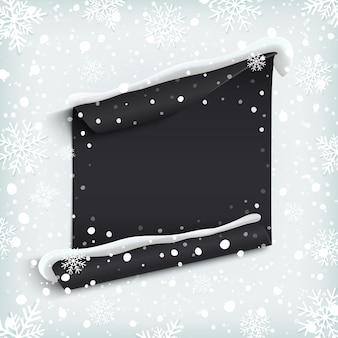 Black, abstract paper banner on winter background with snow and snowflakes.  illustration.