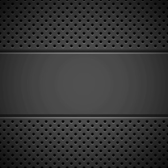 Black abstract technology background with seamless circle perforated pattern speaker grill texture