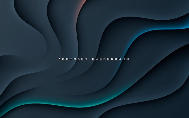 Black abstract wavy dimension background with color light
