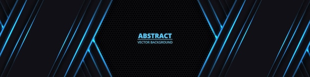 Black abstract wide horizontal background with blue neon lines