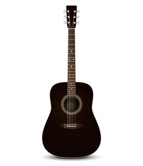 Черная акустическая гитара.