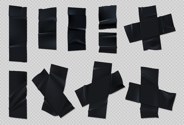 Black adhesive tape. realistic group torn scotch with wrinkles on transparent background