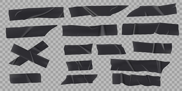 Black adhesive tape realistic sticky strip piece with torn edges vector set