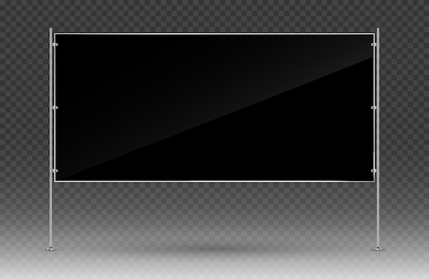 Черный рекламный баннер. прямоугольный баннер с металлической конструкцией, изолированные на прозрачном фоне