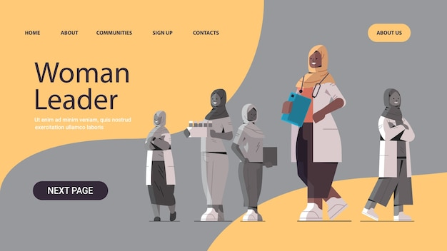Black african muslim female doctor leader standing in front of arabic medical professionals team in uniform medicine healthcare concept horizontal full length copy space vector illustration