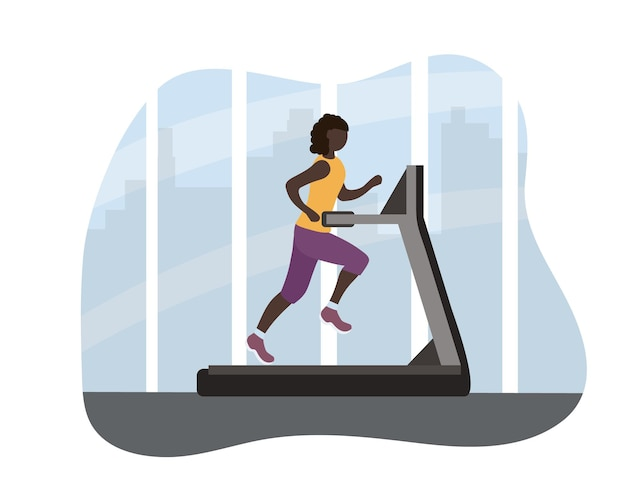 A black african woman on a treadmill. athletic training every day, healthy lifestyle. sports in the fitness center against the backdrop of the big city. comfortable clothes for sports. vector flat