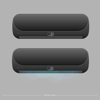 Черный кондиционер излучает холодный 3d. реалистичный вектор кондиционера.